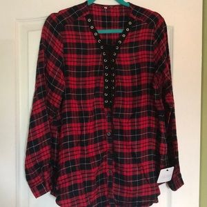 Fun NWT Plaid Lace-up/Button Down Large